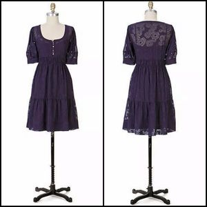 Anthro Maeve Silk Plum Sheer Floral Babydoll Dress